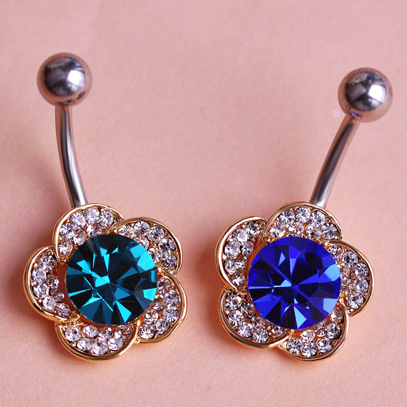 Buy sapphire blue gold crystal flowers for Belly button jewelry store