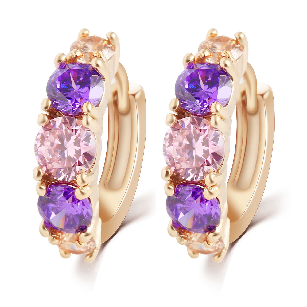 fine Jewelry Fashion Charm Alloy Gold Plated Colorful Purple Crystal Earring Jewelry Round Zirconia Design Earrings For Women<br><br>Aliexpress