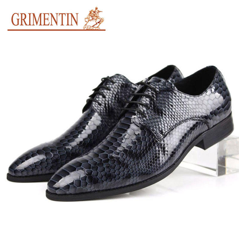 2015 mens dress italian leather shoes lace up round toe handmade genuine leather snake skin designer flats size6.5-11 ox39(China (Mainland))