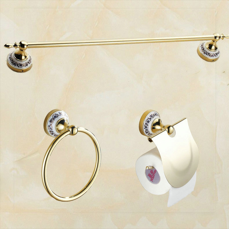 2015 Bathroom single Towel Bar towel Ring Toilet Paper Holder bathroom accessories bath hardware accessories sink bath room gold(China (Mainland))