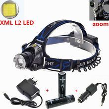 Zoom LED Headlamp 3800LM CREE XM-L2 L2 LED Headlight Rechargeable Head Lamp For Camping+2x18650 battery+AC/Car charger(China (Mainland))