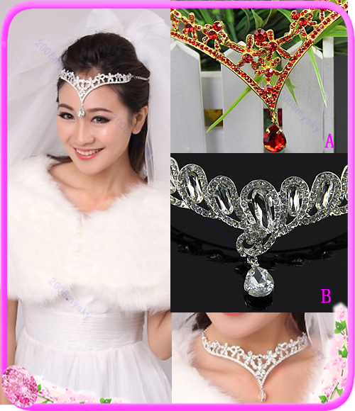 "Z101""Bridal Pageant Rhinestone Crown Headdress Prom Wedding Hair Party Tiara Necklace Free shipping(China (Mainland))"