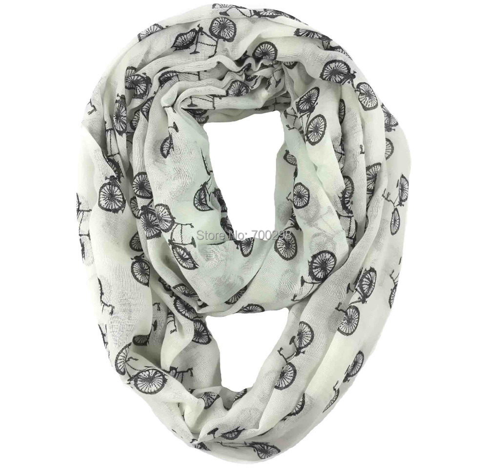 Vintage Bicycle Print Infinity Scarf Cowl Circle Accessories Gift for Ladies, Free Shipping(China (Mainland))