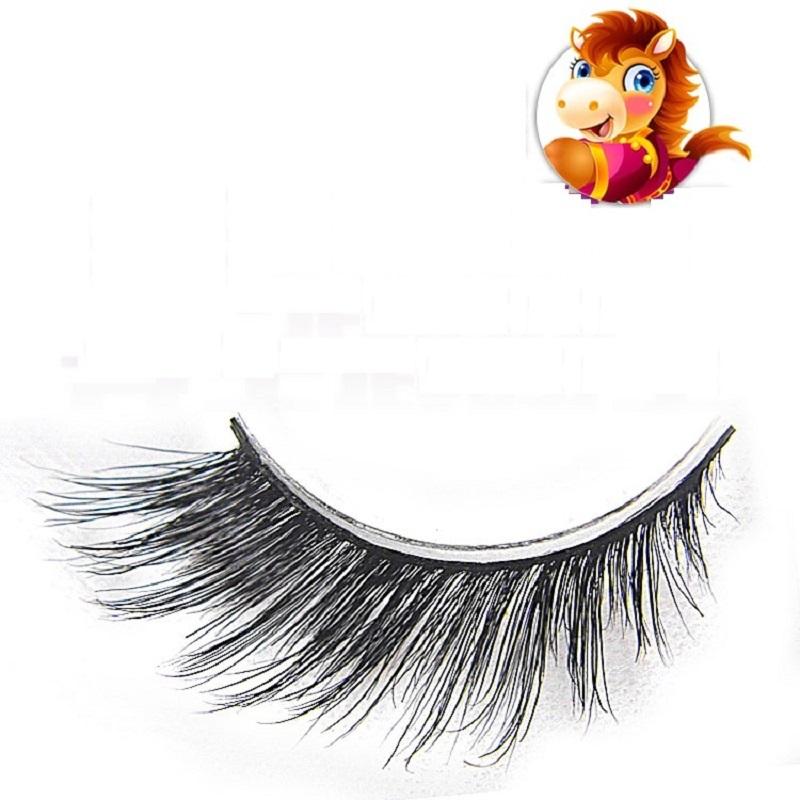 LIBLO 1 Pair Natural Horse Hair False Eyelash Extension MM4 Makeup Cosmetics Exaggerate Style Fake Eye Lash Halloween - LBB Commercial Co., Ltd. store