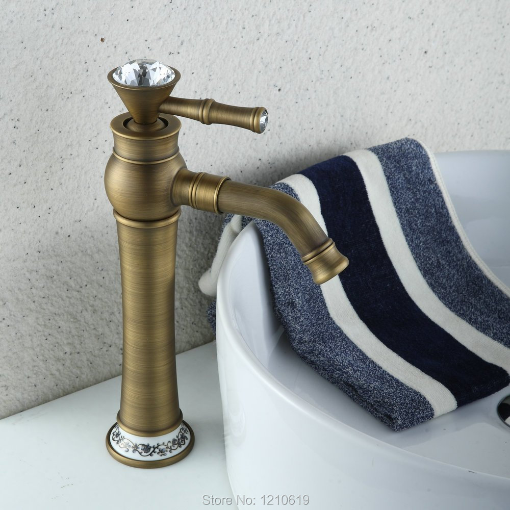 Newly Crystal Bathroom Basin Faucet Sink Mixer Tap Antique Brass Tall Vessel Faucet Single Hole Deck Mount