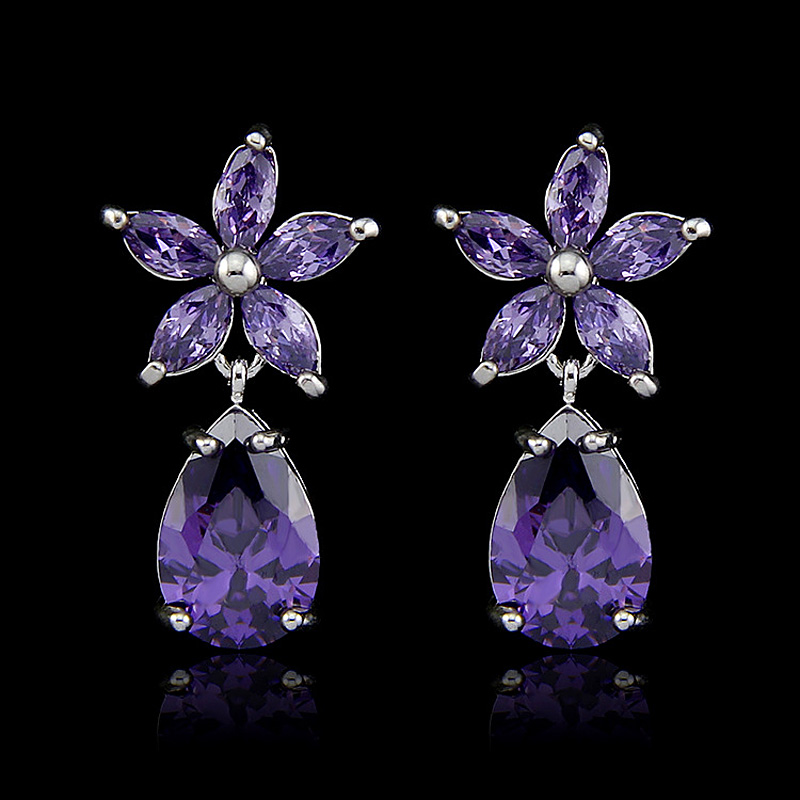 Female CZ Dangle Earrings Charm Crystal Silver Plated Long Vintage Purple Zirconia Flower Drop Earring Gift For Women Wedding(China (Mainland))