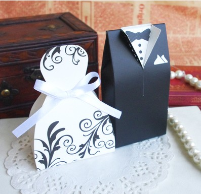Black Decorative pattern Wedding favor boxes gift paper bags candy box Bridal Gown Dress Groom's Tuxedo candy boxes 200pcs/lot(China (Mainland))