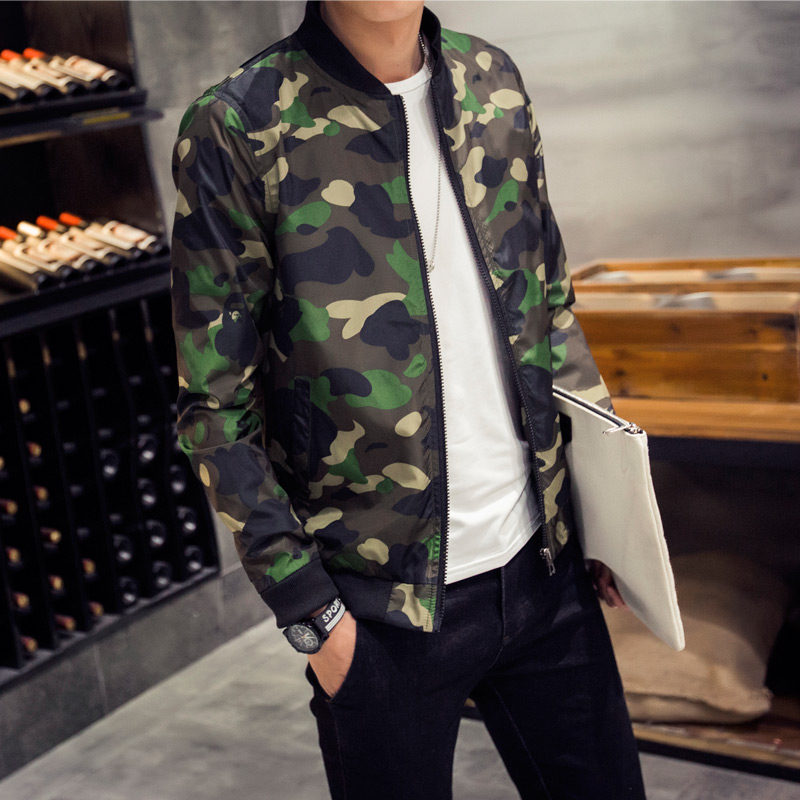 New 2016 military style fashion camouflage stand collar thin bomber jacket men manteau homme men's clothing plus size m-5xl/JK16(China (Mainland))