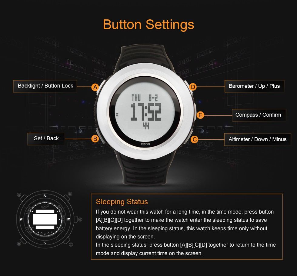 EZON mountaineering watches wearable smart devices Luminous Digital Wrist Watches compass sports watch H015