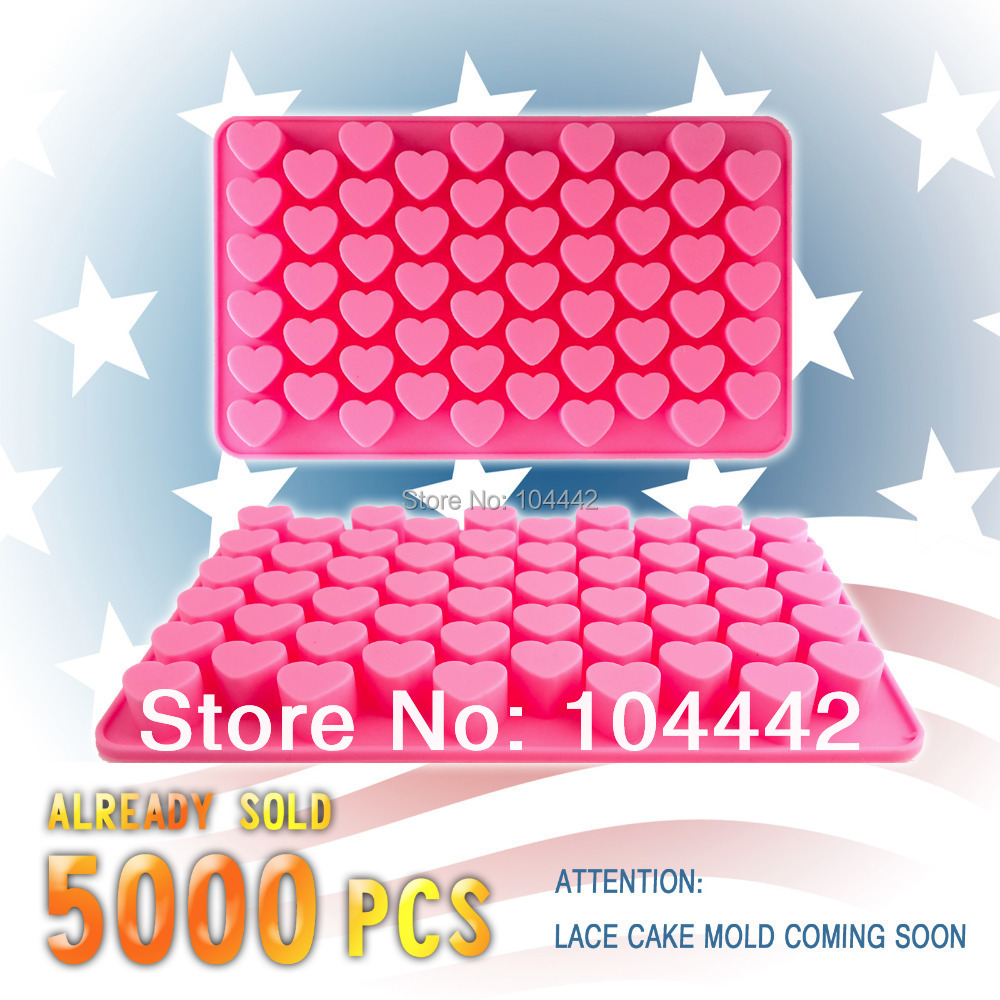 55 holes 1.5 Mini heart silicone cake mold Chocolate Fondant Jelly Cookie Muffin ice mould Flexible moulds cupcake bake tools(China (Mainland))