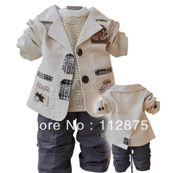 New 2015 Hot Sale children Clothing Sets Cotton Coat+T-shirt+pants 3pcs baby boy kids children outerwear Free shipping(China (Mainland))