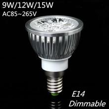 High power CREE E14 LED lamp 220V 110V 9W 12W 15W LED Spotlight Bulb Lamp warm cool white ceiling spot light free shipping