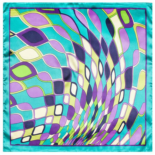 60 см * 60 см геометрические заклинаний цвет воды рябь шаблон моделирования женщины классический плед шелковый шарф шарфы небольшой самолет