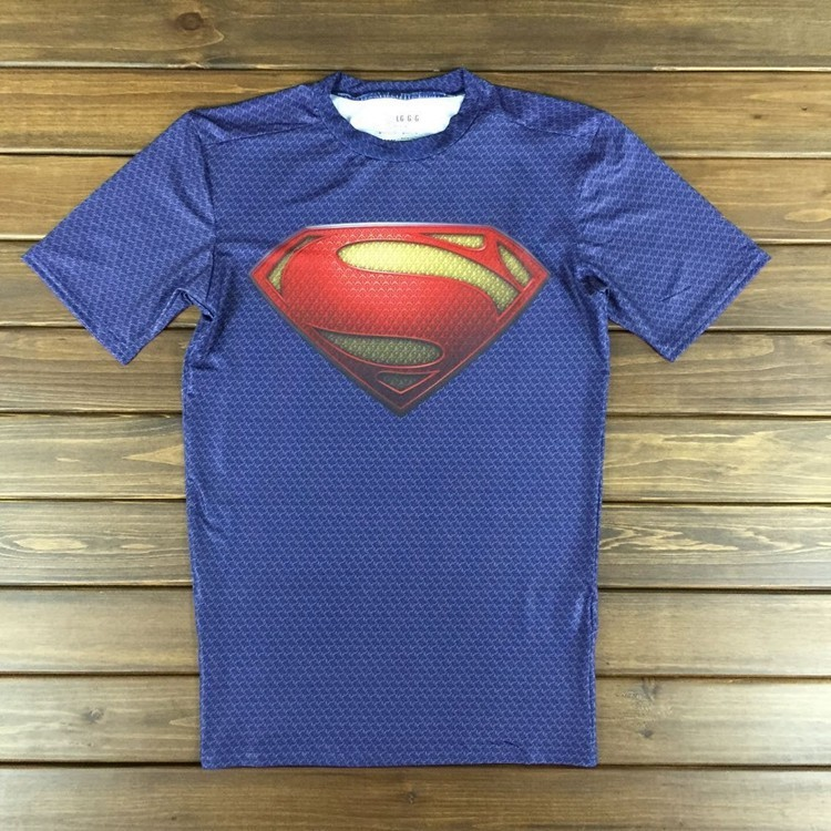 Free shipping 2015 new men steel beast compression shirt superman batman gym run train t shirt