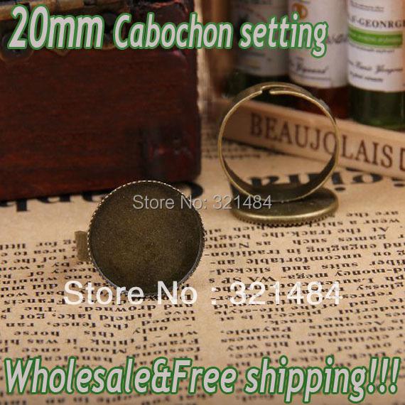 Hot Sale!!! 200pcs Vintage antique brass/bronze Adjustable Ring base blank bezel 20mm round teeth cap cabochon setting