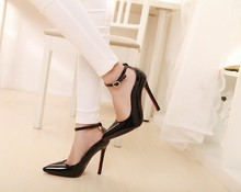 2016 high quality real picture women red stilettos bottom party wedding shoes null pumps  sexy classic ankle strap buckle pumps