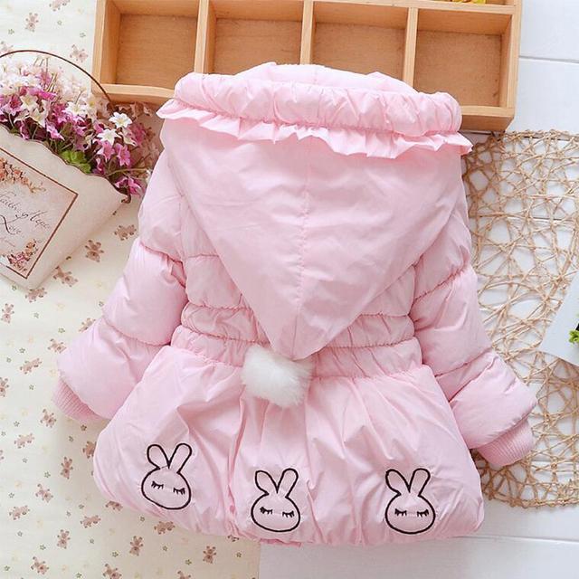 Новый 2017 Зимние детские snowsuit Кролик Мультфильм девочка детский зимний комбинезон С Капюшоном Теплый девочка одежда комбинезоны