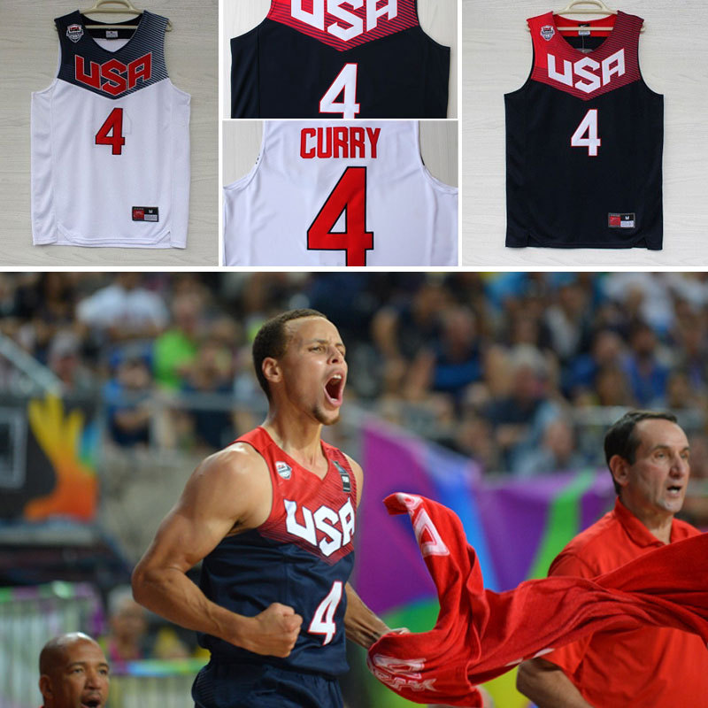 Hot Sale!! Stephen Curry #4 2014 Basketball World Cup USA Dream Team American Navy/White Jerseys, Free Shipping(China (Mainland))