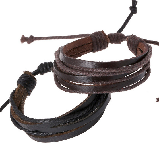 Wrap Charm Genuine Leather Bracelets 2015 Fashion Trendy Braid Bangles Braided rope Unisex Men & Women Hot - TimeBank-Watch store