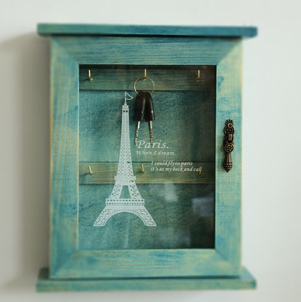 Retro Blue Wood Key Box French Paris Eiffel Tower Home Decor Wall Mount Storage Key Hanging