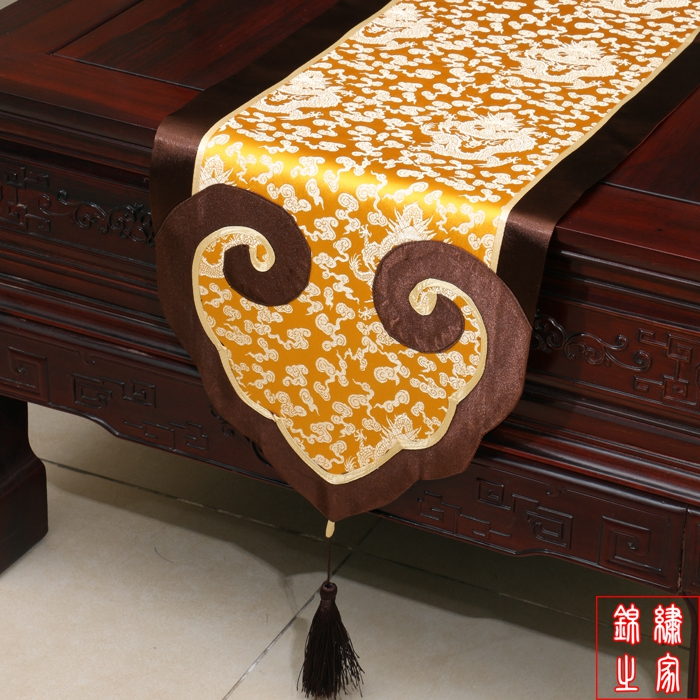 3 sizes Modern Mixed Silk&Brocade Lucky Cloud Yellow Dragon pattern Table Runner Bed Flag with handmade charm tassel(China (Mainland))