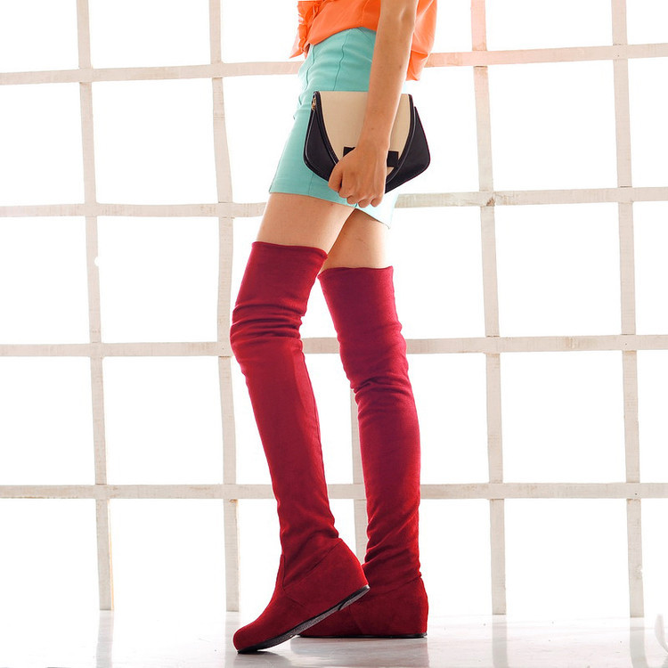 2017 Women boots High Heels Stretch Faux Suede Slim Thigh High Boots Sexy Fashion Over the Knee Boots Woman Shoes Black Gray