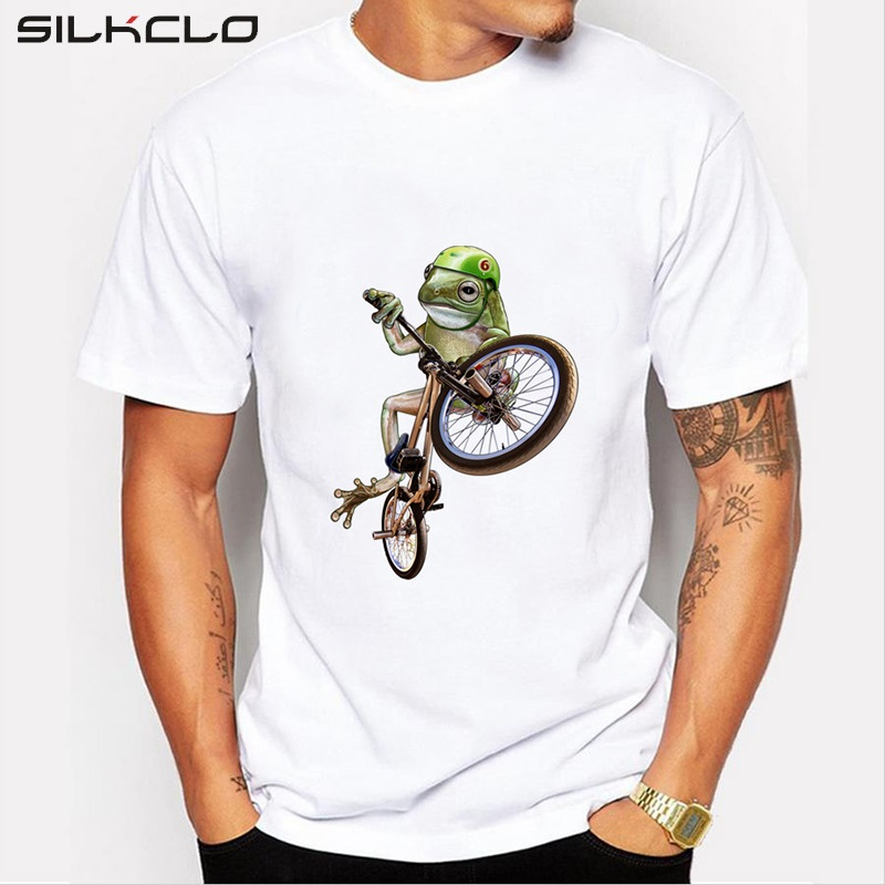 New arrivals 2016 men 39 s creative funny crazy frog printed for Animal tee shirts online