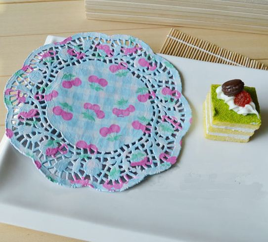 """New Arrival! 10.5"""" Cherry printed round paper lace doilies placemat Party tableware decoration(China (Mainland))"""