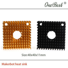 2Pcs/lot 40x40x11mm heatsink For MK7/MK8 3D printer extruder heat sink Makerbot Fitting Aluminum Anode Black Free shipping