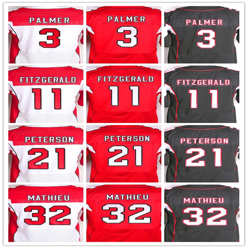 Best quality jersey,Men's 3 Carson Palmer 11 Larry Fitzgerald 21 Patrick Peterson 32 Tyrann Mathieu elite jersey,White Red Black(China (Mainland))