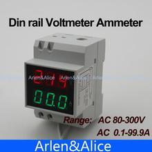 На дин-рейку двойной из светодиодов дисплей напряжение и ток счетчик рельс-к-рейку вольтметр амперметр диапазон AC 80 — 300 В 0.1 — 99.9A