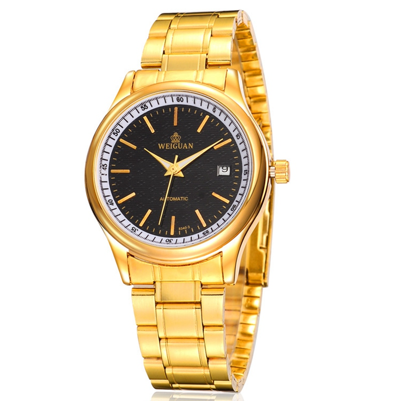 High-Quality Business Men Watches Fashion Jewelry Brand Mechanical Watch Stainless Steel Strap Does not Fade Golden 8340S<br><br>Aliexpress