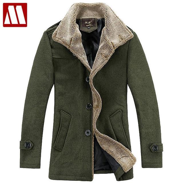 2015 зима мода мужской подстриженные шерстяное пальто пальто Высокое качество мужчины ...