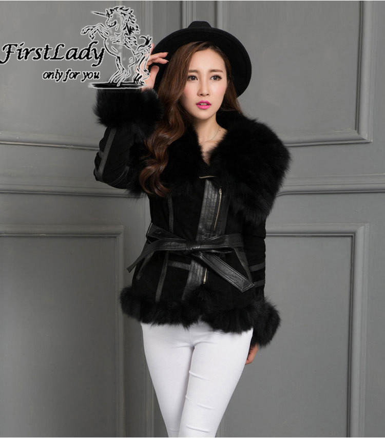 Real fox collars real leather jacket 1