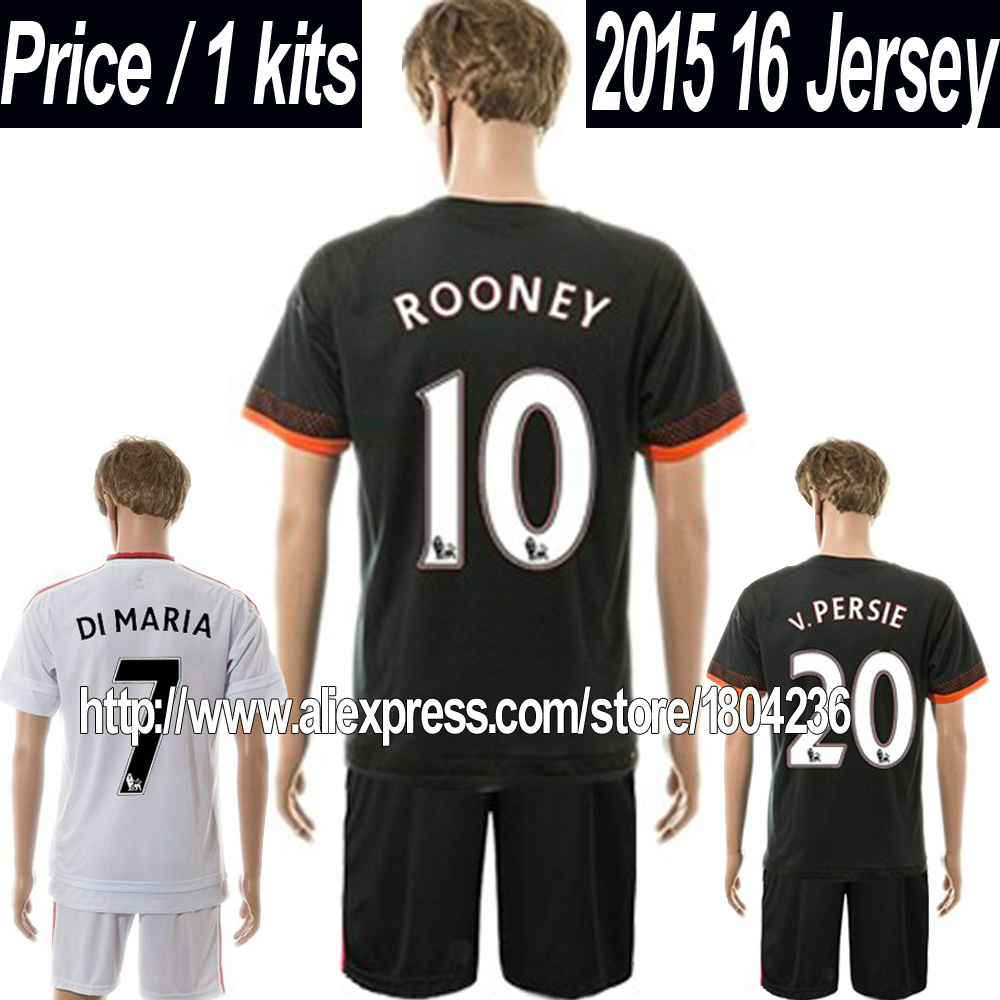 15 16 Rooney Soccer Jersey kit 2015 2016 Falcao Away 3RD White Black Football Jerseys set Top High Qulaity(China (Mainland))