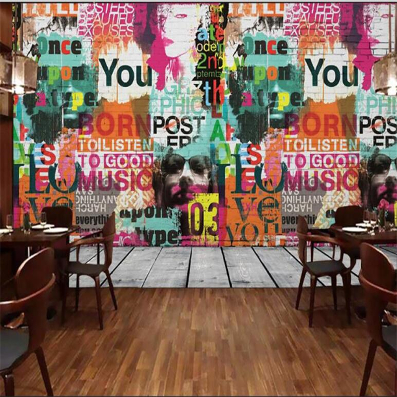 Custom any size of cartoon nostalgic graffiti letters paint wallpaper metope of children room sitting room background wallpaper(China (Mainland))