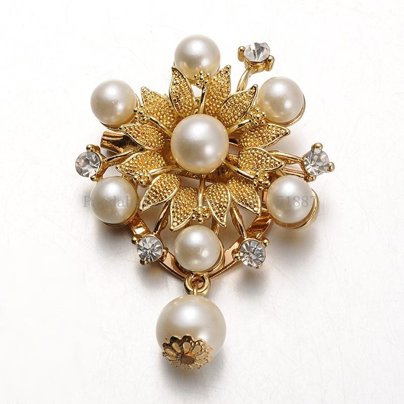 1 piece Free shipping Fashion Gold Plated pin brooch pearl brooch lovely woman scarf buckle pin with Acrylic Pearls,57x42mm;(China (Mainland))