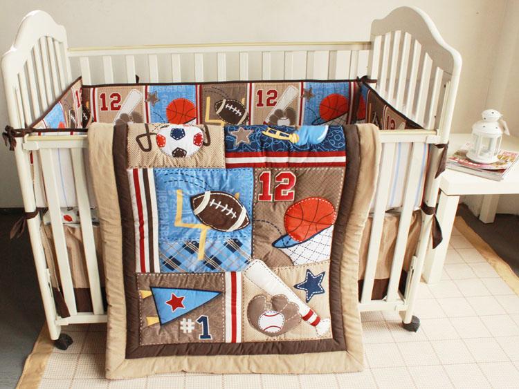 7 Pcs Baby Bedding Set Brown 3D Embroidery Baseball Football Sports Equipment Pattern Quilt Bumper Bedskirt Mattress Cover Set(China (Mainland))