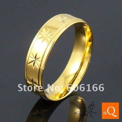 70ps/lot 6mm 18K GP Gold Plated Ring Cut Flowers High Polishing Spherical Inside Stainless Steel Rings Fine Fashion Jewelry<br><br>Aliexpress