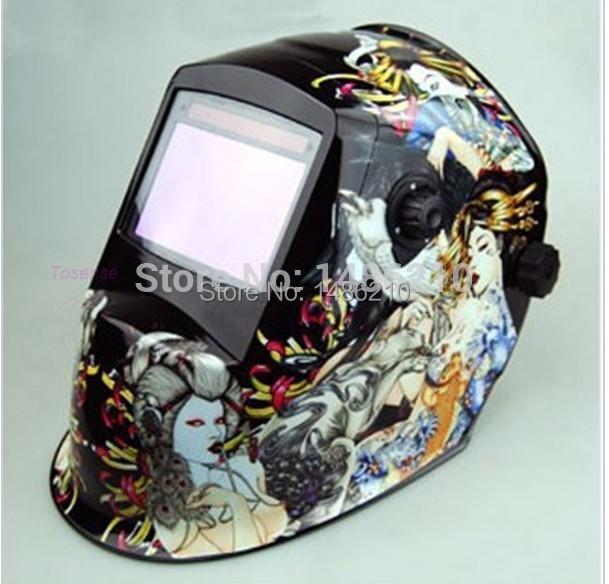 Flame skeleton Solar Auto Darkening Welding Helmet for ARC MAG MIG TIG welding machine mask welder cap Contemporary Chrome NO.1(China (Mainland))