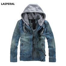 LASPERAL Brands Men Denim Jacket Blue Mandarin Collar Spring Autumn Men Coats Hat Detachable Slim Casual Hooded Jeans Jacket Top(China (Mainland))