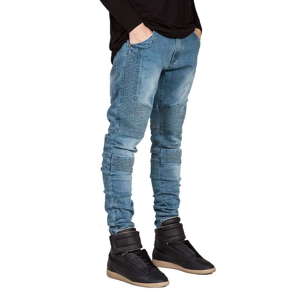 HerQueen Vintage Biker Jeans Men Elastic Moto Stretch Pants with Distressed Style