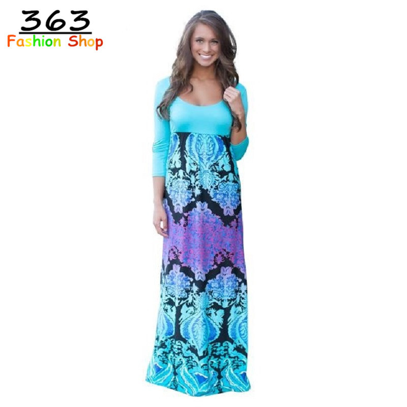 2015 New Fashion Print O-Neck Half Sleeve Maxi Summer Dress Slim Women Dresses High Quality WD94Одежда и ак�е��уары<br><br><br>Aliexpress