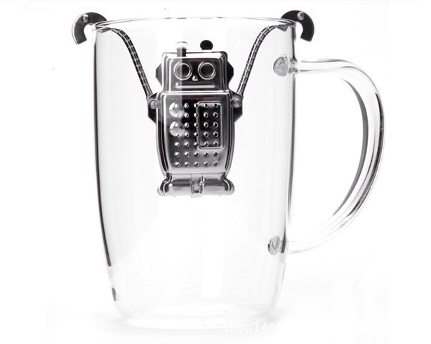 Creative Stainless Steel Robot Tea Infuser Strainer Filter Tools Kitchen Gadgets(China (Mainland))
