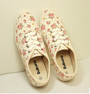 ! women canvas floral print shoes women's casual sports running sneakers flats - love bobo's store