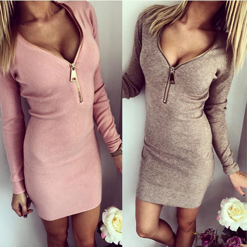 Europe Fashion 2016 New Zipper V Neck Long Sleeve Bodycon Casual Dress Sexy Club Pencil Dress Autumn Mini Women Dresses Vestidos(China (Mainland))