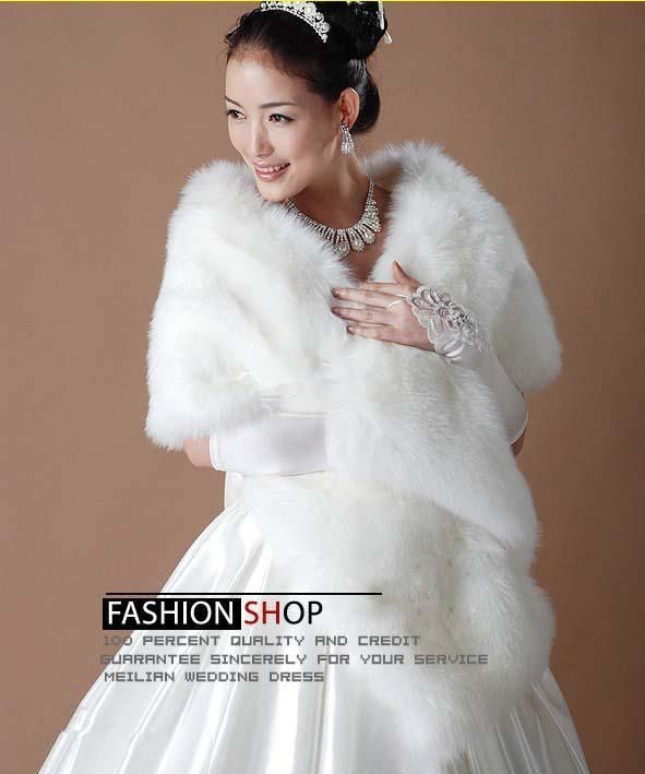 White fur wrap shrug bolero bridal shawl ivory wedding for Fur shrug for wedding dress