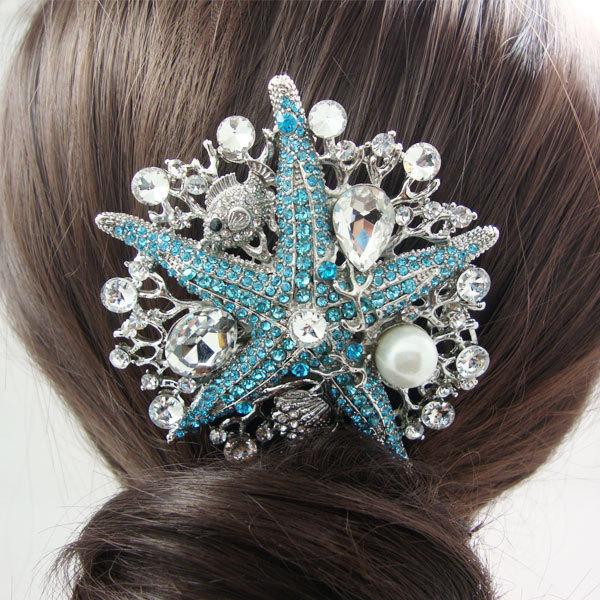 Bridal Wedding Hair Accessories Starfish Pearl Rhinestone Crystal Bride Comb Bridesmaid Wedding Jewelry(China (Mainland))