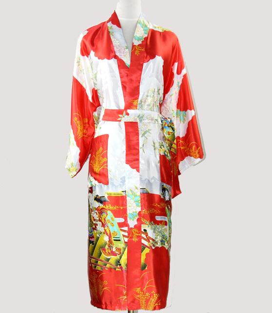 Красный японские женщины кимоно юката платье с длинным шелковый район белье пижамы ...