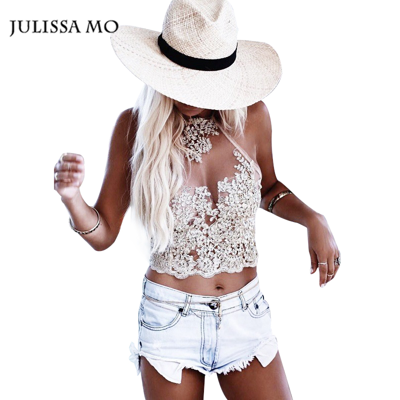 Summer Women Lace Crop Tops Embroidery White Backless Sexy Gauze Cami Spaghetti Strap Short Beach Party Cropped Tank Top(China (Mainland))